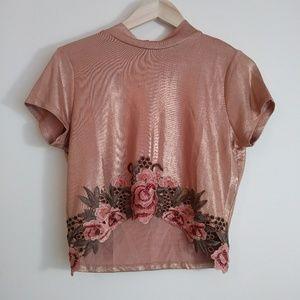 Bundle💋 Cropped Rose blush metallic top Charlotte